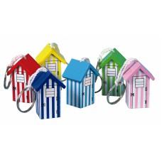 Wooden Beach Hut Keyrings, 4cm, 6 assorted