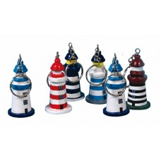 Wooden Lighthouse Keyrings, 6cm, 6 assorted