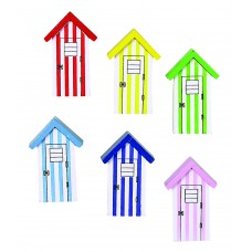 Beach Hut Magnets, 5cm, 6 assorted