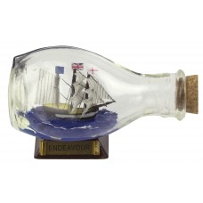 HMS Endeavour Ship-in-Bottle, 3-sided, 9cm