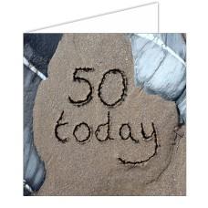 """50 Today"" SandScript Card"