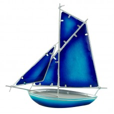Stained Glass Sloop, blue, 30cm