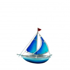 Stained Glass Yacht, blue, 15cm