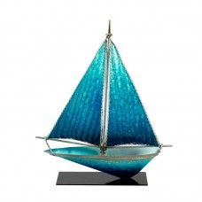 Art Metal Yacht with Stand, blue, 26cm