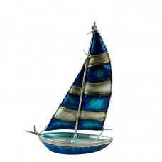 Art Metal Bermuda-rigged Yacht, striped sails, 25cm