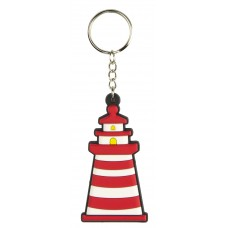 Lighthouse Rubber Keyring, red