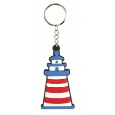 Lighthouse Rubber Keyring, red/blue