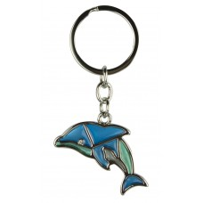Stained Glass Dolphin Keyring