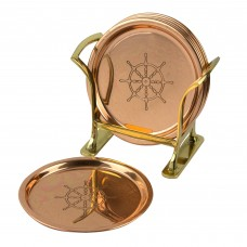 Coaster Set (6) - Ship's Wheel, copper