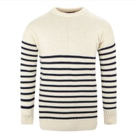 Breton Crew Sweater, ecru, S