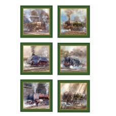Steam Train Coasters (6), 10cm