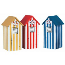 Stripy Beach Hut Money Boxes, 17cm, 3 assorted