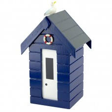 Beach Hut Money Box, blue, 15cm