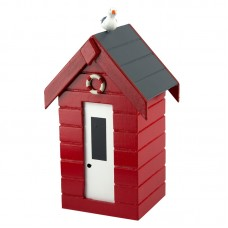 Beach Hut Money Box, red, 15cm