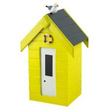 Beach Hut Money Box, yellow, 15cm