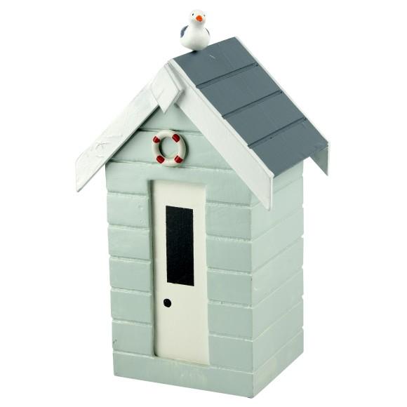 Beach Hut Money Box, pastel blue, 16cm