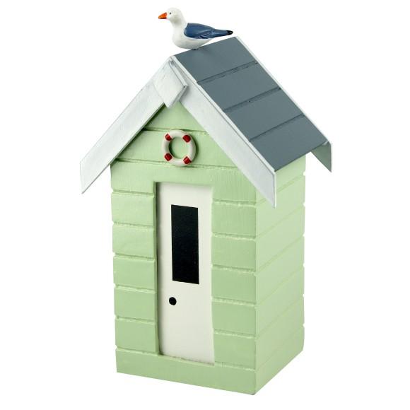 Beach Hut Money Box, pastel green, 16cm