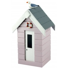 Beach Hut Money Box, pastel pink, 16cm