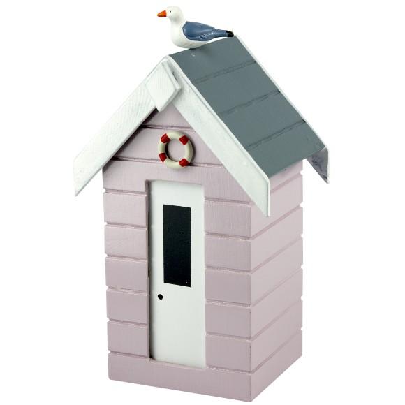 Beach Hut Money Box, pastel pink, 16cm