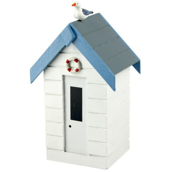 Beach Hut Money Box, white, 16cm