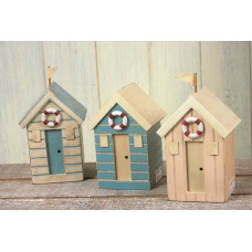 Beach Hut Money Boxes, neutral, 12cm, 3 assorted