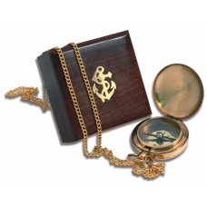 Pocket Compass & Chain in Wooden Box