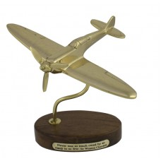 Brass Spitfire on Wooden Stand, 18cm