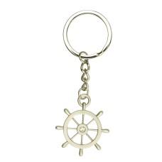 Ship's Wheel Keyring, silver