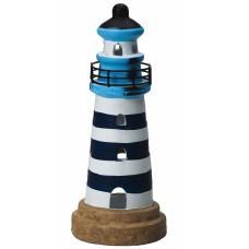 Lighthouse Tealight Holder, blue/white, 20cm