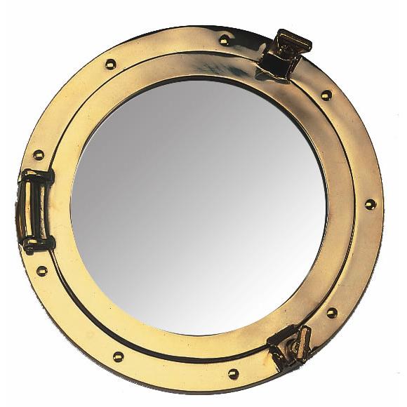 Brass Porthole Mirror, 20cm