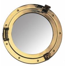 Brass Porthole Mirror, 30cm