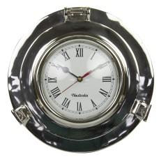 Aluminium Porthole Clock, 28cm