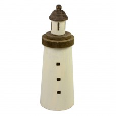 Wooden Lighthouse, white/brown, 30cm