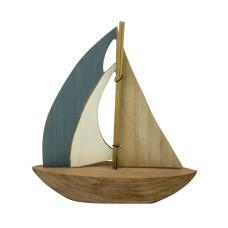 Wood Sailboat, blue/white/natural, 22cm