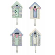 Beach Hut Hooks, pastel colours, 16cm, 4 assorted