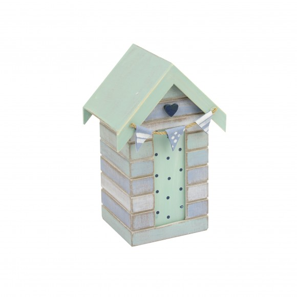 Beach Hut Money Box (Heart), 16cm