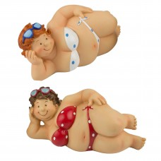 Polka Dot Bikini Fat Ladies, lying, 17cm, 2 assorted