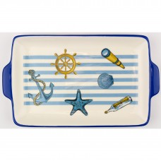 Blue Stripe Rectangular Dish, 26x15cm