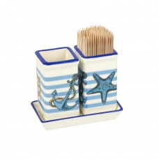 Blue Stripe Cocktail Stick Pots &Tray (Cocktail Sticks not inc), 14x8cm