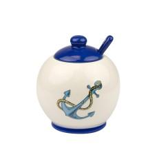 Blue Stripe Sugar Bowl with Anchor, 10cm