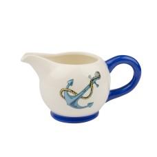 Blue Stripe Milk Jug with Anchor, 14cm