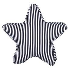 Stripy Star-shaped Cushion, blue/white, 47cm
