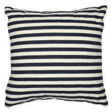 Stripy Square Cushion, blue/white, 37cm