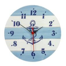 Wooden Clock, blue/white, 30cm