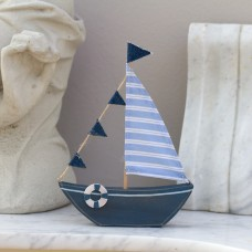 Yacht with Bunting, blue, 21x15cm