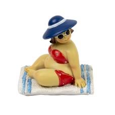 Fat Lady Sitting on Towel, blue, 7cm