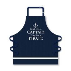 """Apron """"Work Like a Captain"""", navy, 75x71cm"""