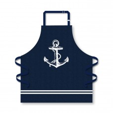 Apron with Anchor, navy, 75x71cm