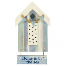 Beach Hut-Style Magnet, Home is by the sea, 12cm