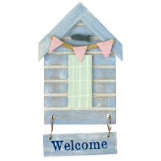 Beach Hut-Style Magnet, Welcome, 12cm